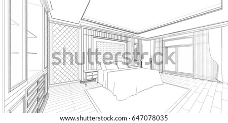 Bedroom Designs Outline interior design modern style bedroom 3d stock illustration