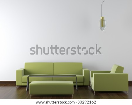 interior design of modern green living room furniture against white wall with a lamp hanging and lots of copy space - stock photo