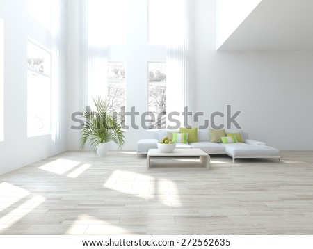 Interior design of modern house with white furniture-3d rendering - stock photo