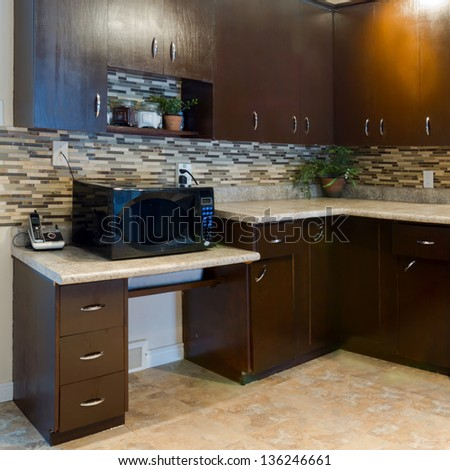 Interior design of modern kitchen and Living room in a new house - stock photo