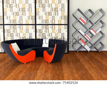 interior design of modern living room, lounge with black sofa and books, 3d render - stock photo