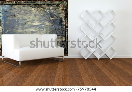 interior design of modern living room, lounge with white sofa and books, 3d render - stock photo