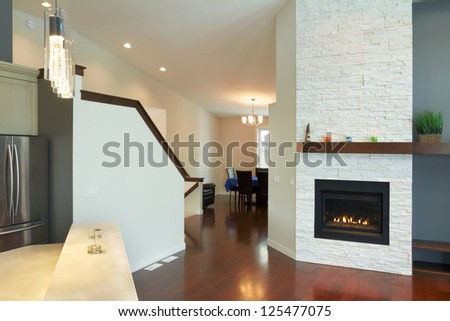 Interior design of modern Living room with fireplace in a new house