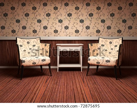 Interior design of modern living room, wooden floor, floral wallpaper, two brown modern armchairs with table, 3d render/illustration - stock photo