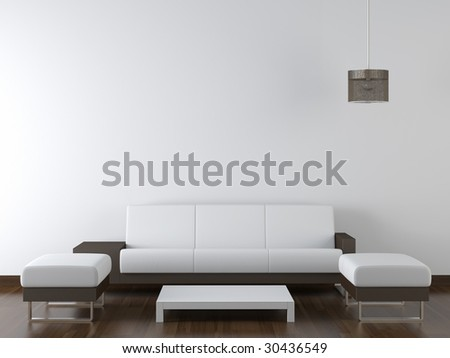interior design of modern white and brown living room furniture against white wall with a lamp hanging and lots of copy space - stock photo