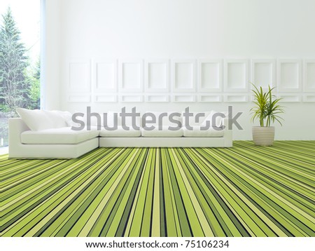 interior design of modern white and green living room with big white sofa, big lounge, 3d render - stock photo