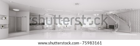 Interior design of modern white apartment living dining room kitchen panorama 3d render - stock photo