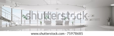 Interior design of modern white apartment with staircase panorama 3d render - stock photo