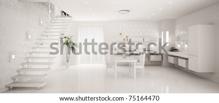 Interior design of modern white kitchen panorama 3d render