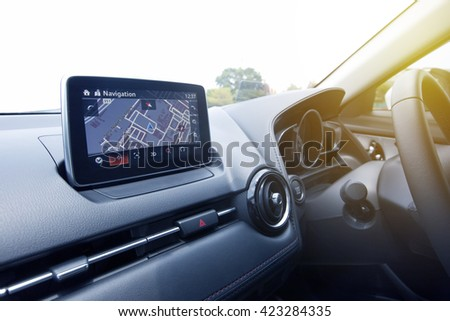 interior design of the modern navigation system car