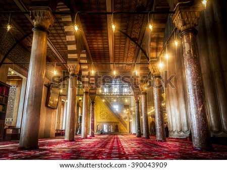 Interior design of the Sultanahmet Mosque  the Blue Mosque  in Istanbul, Turkey - stock photo