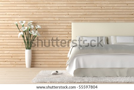 interior design of wooden bedroom with bed and a vase of calla lily flowers - stock photo