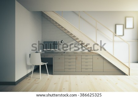 Interior design of working area with dark table and white chair under stairs. 3D Render - stock photo