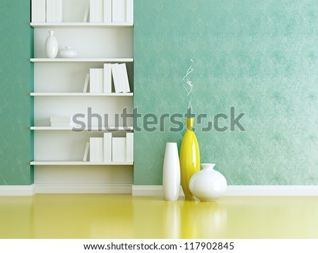 Interior design scene. Bookshelves and vases with brunches. - stock photo