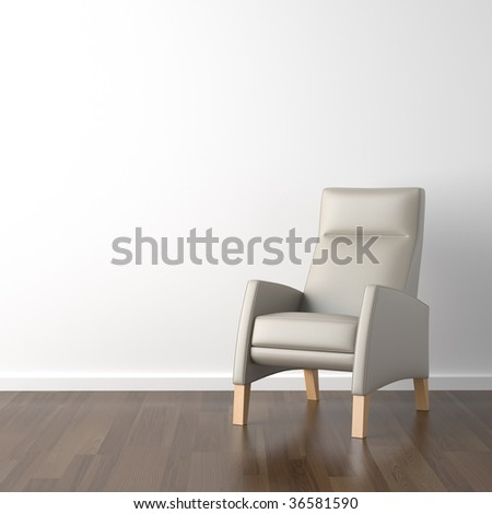 interior design scene grey armchair on a white wall background with copy space