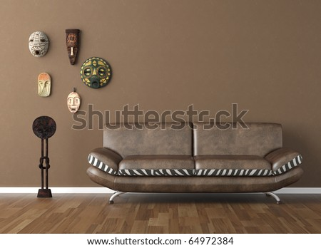 interior design scene of brown wall with couch and tribal masks copy space on top - stock photo