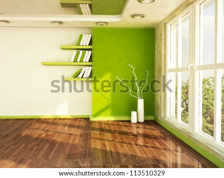 interior design scene with a big window, the vases, the shelves - stock photo