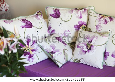 Interior design scene with a classic floral sofa  - stock photo