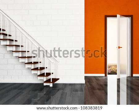 Interior design scene with a door and a stairs - stock photo