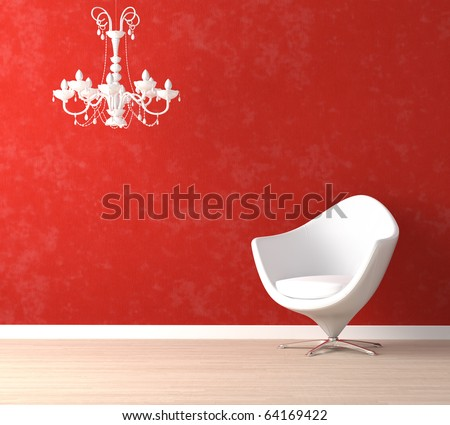 Interior design scene with a modern white armchair and retro lamp on vibrant red wall - stock photo