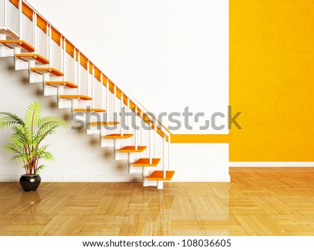 Interior design scene with a plant and a stairs in the room - stock photo