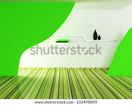 Interior design scene with a shelf and a vase, a books - stock photo