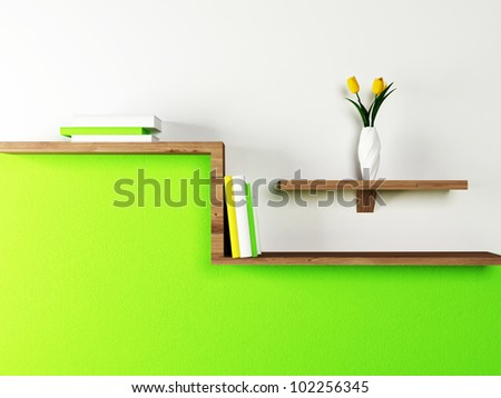 Interior design scene with a shelf on the wall - stock photo