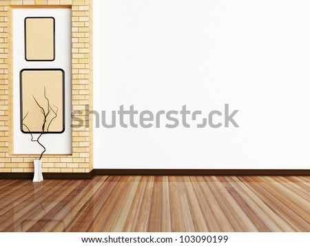 Interior design scene with a vase and a picture on the wall - stock photo