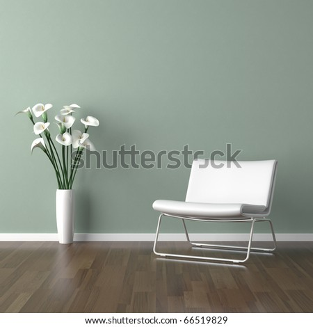 interior design scene with a white modern chair and a vase of calla lilly on a pale green wall - stock photo