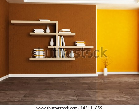 Interior design scene with the  bookshelves in the room - stock photo