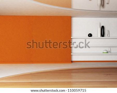 Interior design scene with the shelves - stock photo