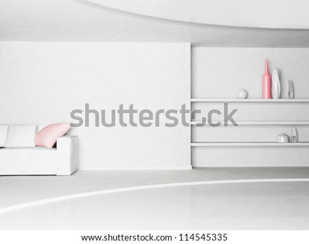 Interior design scene with the vases on the shelves - stock photo