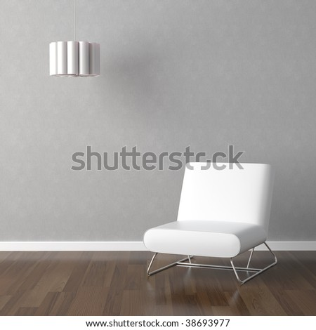 interior design scene with white modern chair and hanging lamp on a grey wall - stock photo