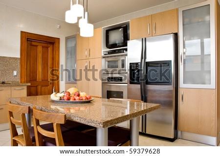 Interior design series: classic and modern kitchen - stock photo