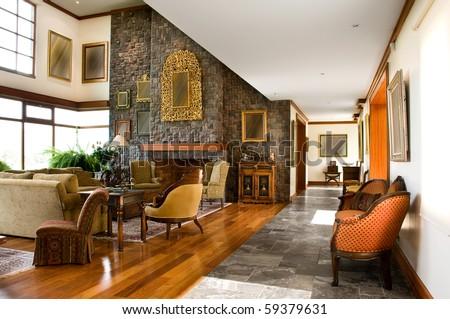 Interior design series: classic living room - stock photo