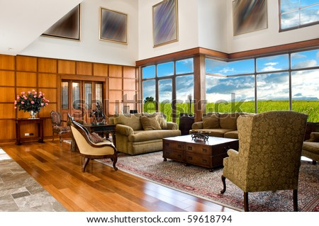 Interior design series: classic living room - stock photo