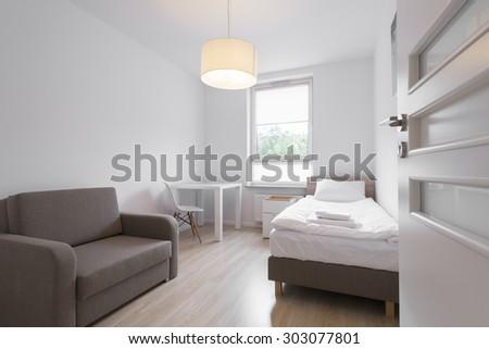 Interior design series: Modern Bedroom in white - stock photo