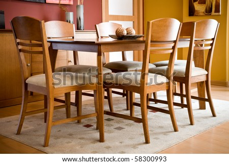 Interior design series: modern colorful dining room - stock photo