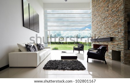 Fußboden Braun Series ~ Interior design series modern living room stock foto