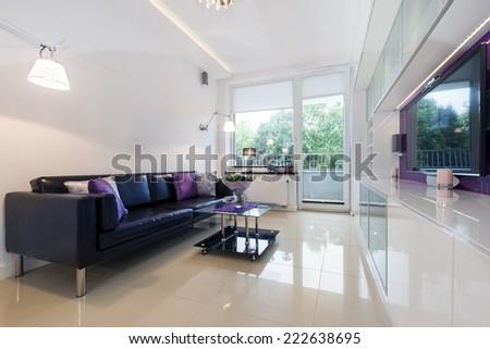 Interior design series: Modern living room in white design - stock photo