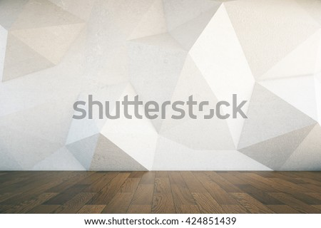 Interior design with abstract patterned concrete wall and dark wooden floor. 3D Rendering - stock photo