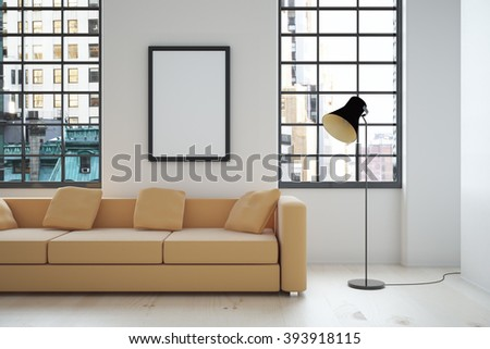 Interior design with beige sofa, blank picture frame, lamp and windows with city view. Mock up, 3D Render - stock photo