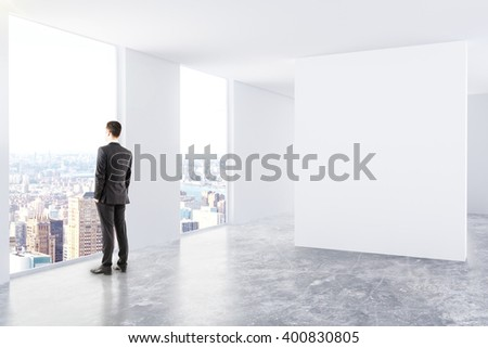 Interior Design With Blank Board Thinking Businessman And City View Mock Up 3D