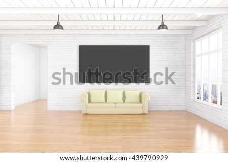 Interior design with empty chalkboard on white brick wall, wooden floor, ceiling, couch and window with city view. Mock up, 3D Rendering