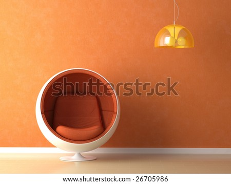 Interior design with minimal elements in orange color - stock photo