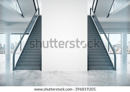 Interior design with two staircases, blank wall and city view. Mock up, 3D Render - stock photo
