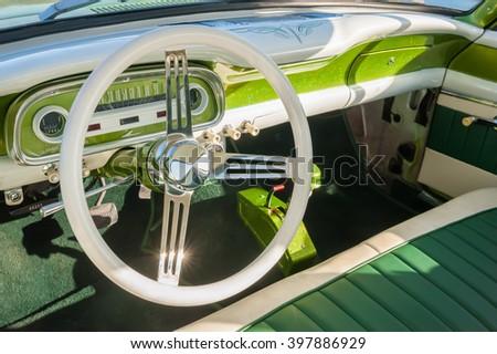 interior detail of a retro 1950s automobile - stock photo