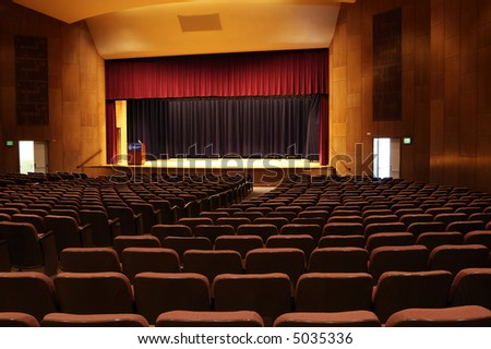 interior detail of a university auditorium - stock photo