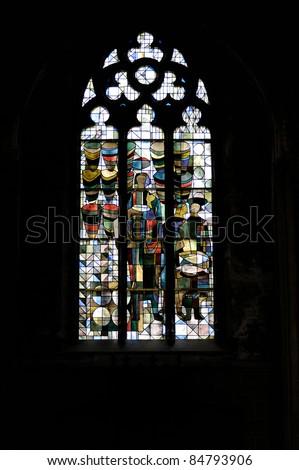 Interior detail view of Sint Petrus-en-Pauluskerk (Church of St. Peter and St. Paul) window. Oostende, Belgium. - stock photo