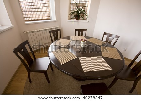 interior - dinner-room with table and chairs